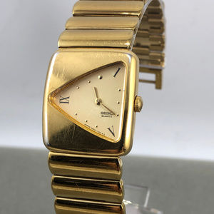 Seiko Triangle Shape Face Gold Tone Bracelet Watch